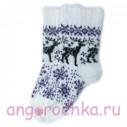 Белые вязаные носки с оленями