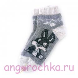 Короткие шерстяные носки с зайчиком