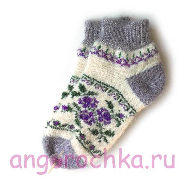Короткие шерстяные носки с цветочным орнаментом - 806.9