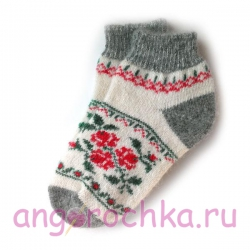 Короткие шерстяные носки с цветочным орнаментом