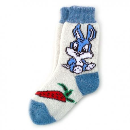 Женские шерстяные носки с синим зайчиком