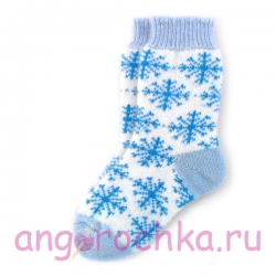 Женские шерстяные носки с синими снежинками