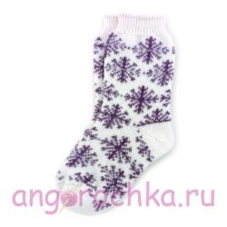 Женские шерстяные носки с бордовыми снежинками