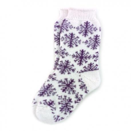 Женские шерстяные носки с бардовыми снежинками