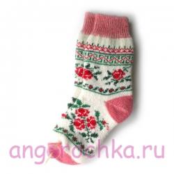 Женские шерстяные носки с цветочным орнаментом