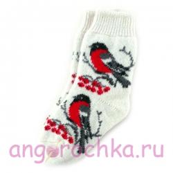 Женские вязаные носки со снегирями