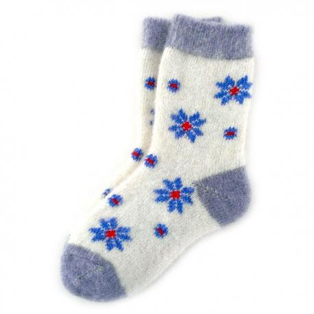 Женские шерстяные носки с синими ромашками