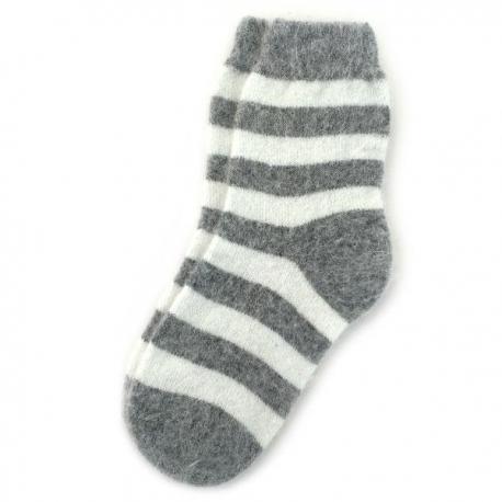 Женские шерстяные носки в серую полоску