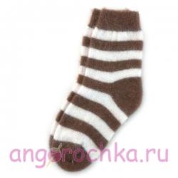 Женские шерстяные носки в коричневую полоску