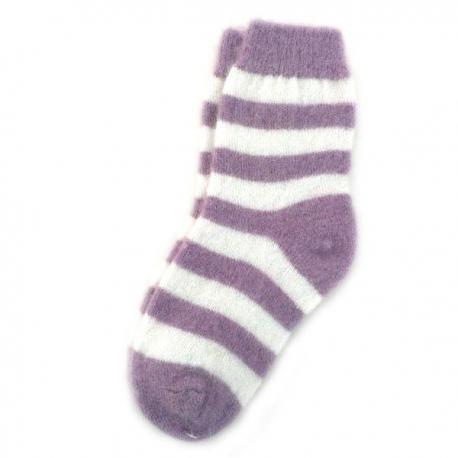 Женские шерстяные носки в лиловую полоску