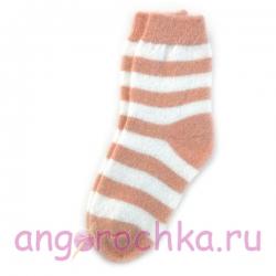 Женские шерстяные носки в бежевую полоску