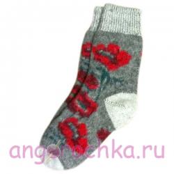 Женские шерстяные носки серые с маками