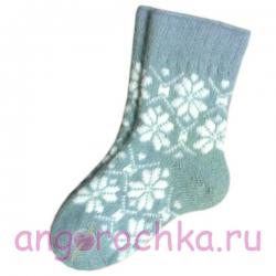 Женские шерстяные носки светло - голубые с узором