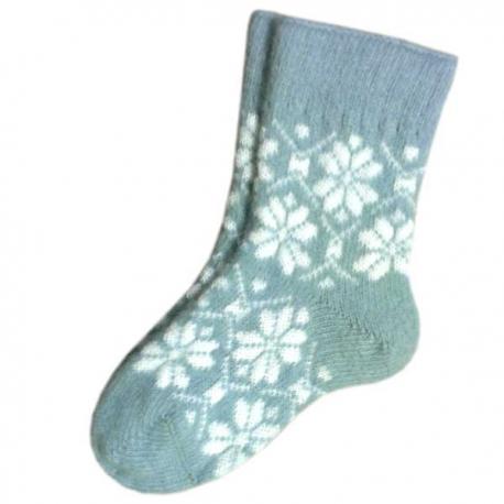 Женские шерстяные носки светло - голубые со снежинками