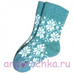 Женские шерстяные носки голубые с узором