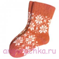 Женские шерстяные носки терракотовые с узором