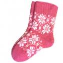 Женские шерстяные носки розовые с узором