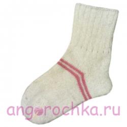 Женские шерстяные носки белые с розовыми полосами