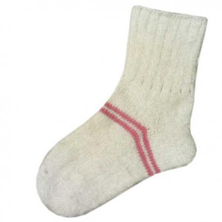 Женские шерстяные носки белые с розовыми полосками