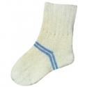 Женские шерстяные носки белые с голубыми полосками