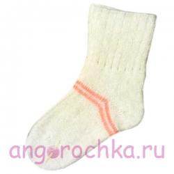 Женские шерстяные носки белые с коралловыми полосками