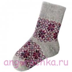 Женские шерстяные носки серые с цветочным узором