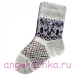 Женские вязаные носки серые с синим рисунком