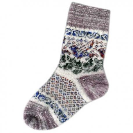 Женские вязаные носки с птицей светло-серые