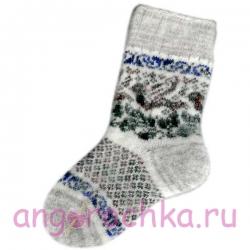 Женские вязаные носки с птицей