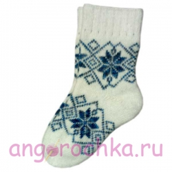 """Женские теплые носки с узором """"синие снежинки"""""""