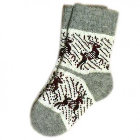 Женские теплые носки с оленями трехцветные