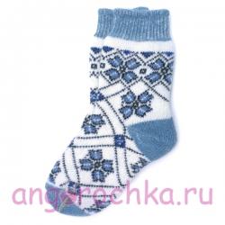 Женские носки на зиму с голубым цветочным орнаментом