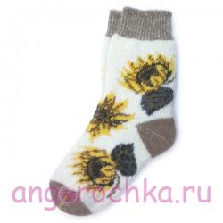 Вязаные шерстяные носки с подсолнухами