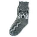 Серые шерстяные носки с рисунком