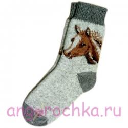Мужские вязаные шерстяные носки с лошадью