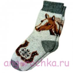 Мужские вязаные шерстяные носки с подковой