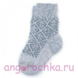 Детские шерстяные носки с серым орнаментом