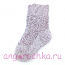 Детские шерстяные носки с бордовым орнаментом
