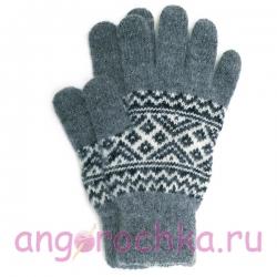 Серые мужские шерстяные перчатки