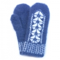 Синие женские шерстяные варежки с узором