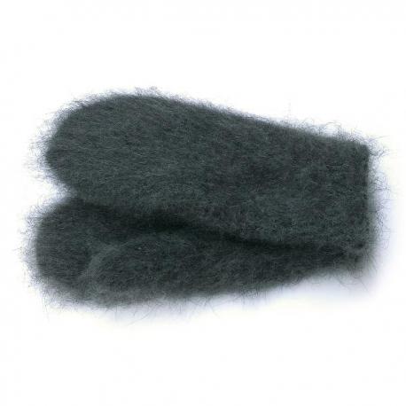 Серые женские шерстяные варежки с пухом