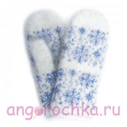 Белые вязаные шерстяные варежки с пухом