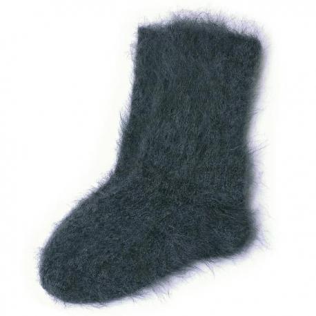 Черные мужские пуховые носки ручной вязки