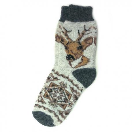 Теплые шерстяные носки с оленем