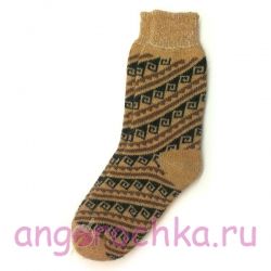 Коричневые шерстяные носки с орнаментом