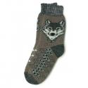 Коричневые шерстяные носки с волком