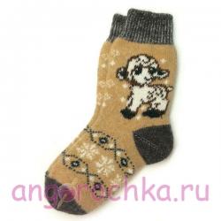Вязаные шерстяные носки с овечкой