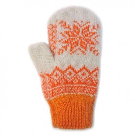 Белые шерстяные варежки с оранжевой снежинкой