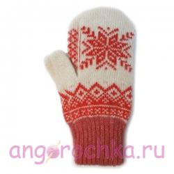 Белые шерстяные варежки с красной снежинкой