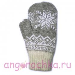 Светло-серые шерстяные варежки с белой снежинкой